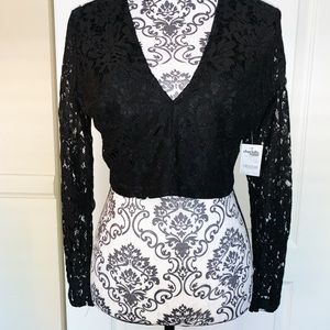 Charlotte Russe Black Lace Crop Top SIZE LARGE